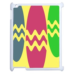 Easter Egg Shapes Large Wave Green Pink Blue Yellow Apple Ipad 2 Case (white)