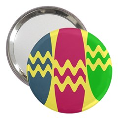 Easter Egg Shapes Large Wave Green Pink Blue Yellow 3  Handbag Mirrors