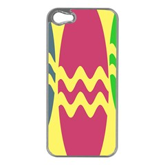 Easter Egg Shapes Large Wave Green Pink Blue Yellow Apple Iphone 5 Case (silver) by Alisyart