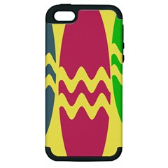 Easter Egg Shapes Large Wave Green Pink Blue Yellow Apple Iphone 5 Hardshell Case (pc+silicone) by Alisyart