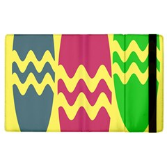 Easter Egg Shapes Large Wave Green Pink Blue Yellow Apple Ipad 2 Flip Case by Alisyart