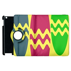 Easter Egg Shapes Large Wave Green Pink Blue Yellow Apple Ipad 3/4 Flip 360 Case by Alisyart