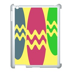 Easter Egg Shapes Large Wave Green Pink Blue Yellow Apple Ipad 3/4 Case (white)