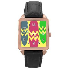 Easter Egg Shapes Large Wave Green Pink Blue Yellow Rose Gold Leather Watch  by Alisyart