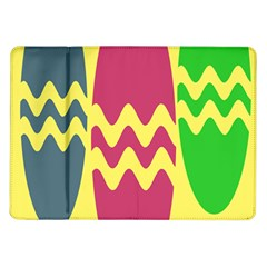 Easter Egg Shapes Large Wave Green Pink Blue Yellow Samsung Galaxy Tab 10 1  P7500 Flip Case