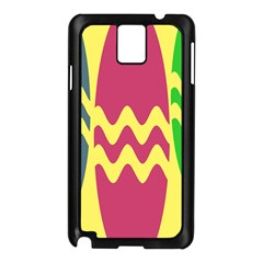 Easter Egg Shapes Large Wave Green Pink Blue Yellow Samsung Galaxy Note 3 N9005 Case (black) by Alisyart