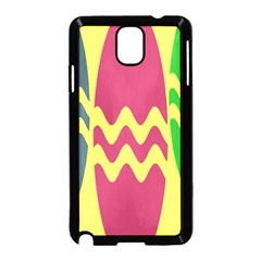 Easter Egg Shapes Large Wave Green Pink Blue Yellow Samsung Galaxy Note 3 Neo Hardshell Case (black)