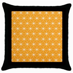 Yellow Stars Light White Orange Throw Pillow Case (black)