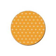 Yellow Stars Light White Orange Rubber Round Coaster (4 Pack)  by Alisyart