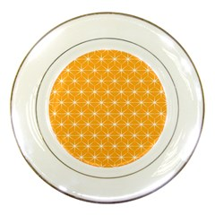 Yellow Stars Light White Orange Porcelain Plates by Alisyart