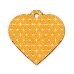 Yellow Stars Light White Orange Dog Tag Heart (two Sides)