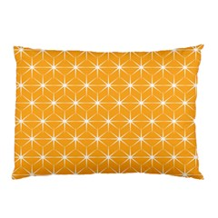 Yellow Stars Light White Orange Pillow Case (two Sides)