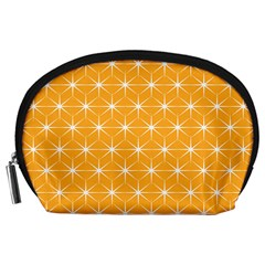 Yellow Stars Light White Orange Accessory Pouches (large)