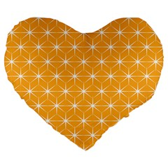 Yellow Stars Light White Orange Large 19  Premium Flano Heart Shape Cushions by Alisyart