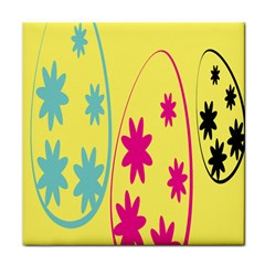 Easter Egg Shapes Large Wave Green Pink Blue Yellow Black Floral Star Tile Coasters