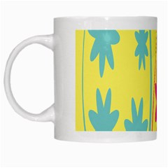 Easter Egg Shapes Large Wave Green Pink Blue Yellow Black Floral Star White Mugs by Alisyart