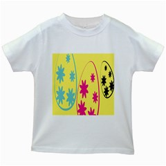 Easter Egg Shapes Large Wave Green Pink Blue Yellow Black Floral Star Kids White T Shirts by Alisyart