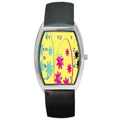 Easter Egg Shapes Large Wave Green Pink Blue Yellow Black Floral Star Barrel Style Metal Watch by Alisyart