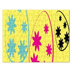 Easter Egg Shapes Large Wave Green Pink Blue Yellow Black Floral Star Rectangular Jigsaw Puzzl by Alisyart
