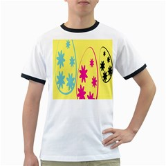 Easter Egg Shapes Large Wave Green Pink Blue Yellow Black Floral Star Ringer T Shirts