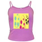 Easter Egg Shapes Large Wave Green Pink Blue Yellow Black Floral Star Dark Spaghetti Tank Front