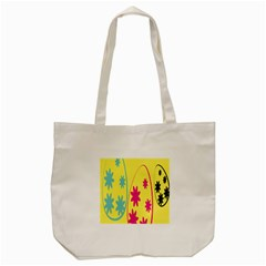 Easter Egg Shapes Large Wave Green Pink Blue Yellow Black Floral Star Tote Bag (cream) by Alisyart