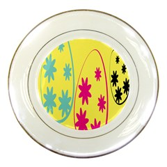 Easter Egg Shapes Large Wave Green Pink Blue Yellow Black Floral Star Porcelain Plates by Alisyart
