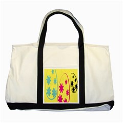 Easter Egg Shapes Large Wave Green Pink Blue Yellow Black Floral Star Two Tone Tote Bag by Alisyart