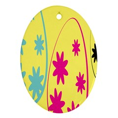 Easter Egg Shapes Large Wave Green Pink Blue Yellow Black Floral Star Oval Ornament (two Sides) by Alisyart