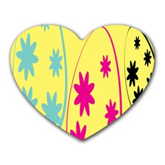 Easter Egg Shapes Large Wave Green Pink Blue Yellow Black Floral Star Heart Mousepads by Alisyart