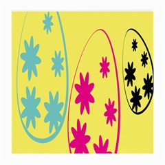 Easter Egg Shapes Large Wave Green Pink Blue Yellow Black Floral Star Medium Glasses Cloth (2 Side)