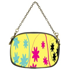 Easter Egg Shapes Large Wave Green Pink Blue Yellow Black Floral Star Chain Purses (two Sides)