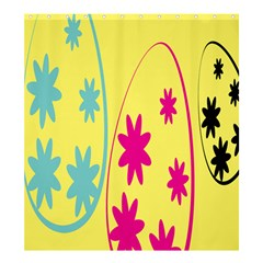 Easter Egg Shapes Large Wave Green Pink Blue Yellow Black Floral Star Shower Curtain 66  X 72  (large)  by Alisyart
