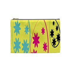 Easter Egg Shapes Large Wave Green Pink Blue Yellow Black Floral Star Cosmetic Bag (medium)