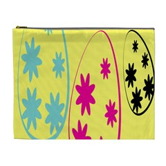 Easter Egg Shapes Large Wave Green Pink Blue Yellow Black Floral Star Cosmetic Bag (xl) by Alisyart