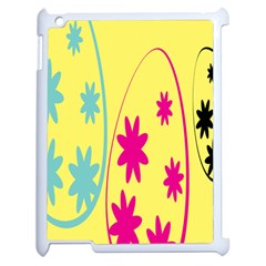 Easter Egg Shapes Large Wave Green Pink Blue Yellow Black Floral Star Apple Ipad 2 Case (white)