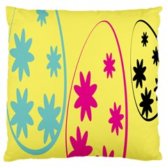 Easter Egg Shapes Large Wave Green Pink Blue Yellow Black Floral Star Large Cushion Case (one Side) by Alisyart