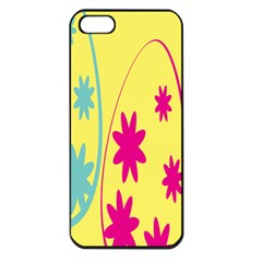 Easter Egg Shapes Large Wave Green Pink Blue Yellow Black Floral Star Apple Iphone 5 Seamless Case (black)