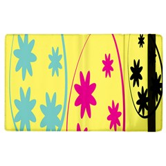 Easter Egg Shapes Large Wave Green Pink Blue Yellow Black Floral Star Apple Ipad 2 Flip Case