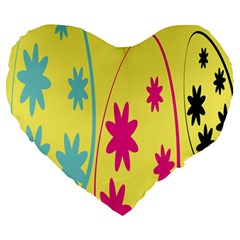 Easter Egg Shapes Large Wave Green Pink Blue Yellow Black Floral Star Large 19  Premium Heart Shape Cushions