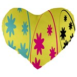 Easter Egg Shapes Large Wave Green Pink Blue Yellow Black Floral Star Large 19  Premium Heart Shape Cushions Back