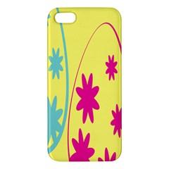 Easter Egg Shapes Large Wave Green Pink Blue Yellow Black Floral Star Apple Iphone 5 Premium Hardshell Case by Alisyart