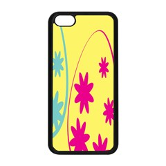 Easter Egg Shapes Large Wave Green Pink Blue Yellow Black Floral Star Apple Iphone 5c Seamless Case (black) by Alisyart