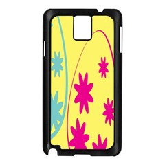 Easter Egg Shapes Large Wave Green Pink Blue Yellow Black Floral Star Samsung Galaxy Note 3 N9005 Case (black) by Alisyart
