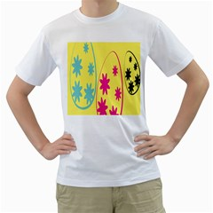 Easter Egg Shapes Large Wave Green Pink Blue Yellow Black Floral Star Men s T Shirt (white)