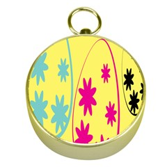 Easter Egg Shapes Large Wave Green Pink Blue Yellow Black Floral Star Gold Compasses
