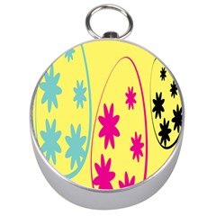 Easter Egg Shapes Large Wave Green Pink Blue Yellow Black Floral Star Silver Compasses by Alisyart