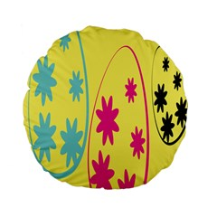 Easter Egg Shapes Large Wave Green Pink Blue Yellow Black Floral Star Standard 15  Premium Flano Round Cushions