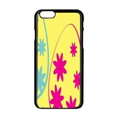 Easter Egg Shapes Large Wave Green Pink Blue Yellow Black Floral Star Apple Iphone 6/6s Black Enamel Case by Alisyart