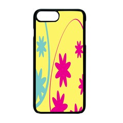 Easter Egg Shapes Large Wave Green Pink Blue Yellow Black Floral Star Apple Iphone 7 Plus Seamless Case (black)